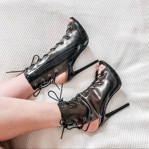 Black Lace Up Peep Toe Super Sexy Stilettos